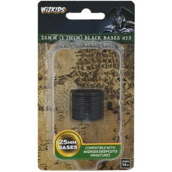 Wizkids Deep Cuts Unpainted Miniatures: Black 25mm Round Base (15ct)