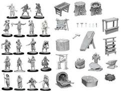 Wizkids Deep Cuts Unpainted Miniatures: Townspeople & Accessories