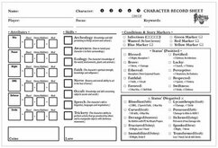 Folklore: The Affliction - Character Record Pads
