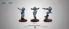 Infinity: Nomads - Perseo, Mercenary Myrmidon (Two Pistols)