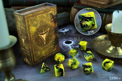 Elder Dice:  Yellow Sign of Hastur Polyhedral Set(9ct)