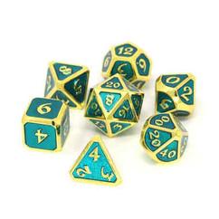Metal Polyhedral Dice Set - Mythica Shiny Gold & Aquamarine (7ct)