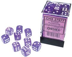 Chessex Dice: Borealis - 12mm d6 Purple/White Luminary (36)