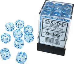 Chessex Dice: Borealis - 12mm d6 Icicle/Light Blue Luminary (36)