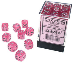 Chessex Dice: Borealis - 12mm d6 Pink/Silver Luminary (36)