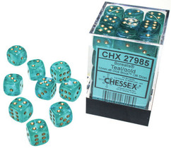 Chessex Dice: Borealis - 12mm d6 Teal/Gold Luminary (36)
