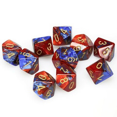 Chessex Dice: Gemini 2 - Polyhedral D10 Blue Red/Gold (10)