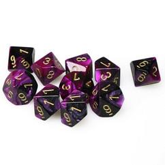 Chessex Dice: Gemini 4 - Polyhedral D10 Black Purple/Gold (10)