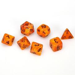 Chessex Dice: Vortex - Polyhedral Orange/Black (7)