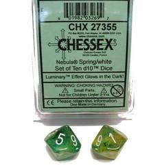 Chessex Dice: Nebula - D10 Spring/White Luminary (10)