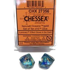 Chessex Dice: Nebula - D10 Oceanic/Gold Luminary (10)