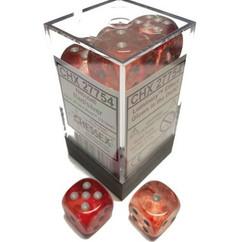 Chessex Dice: Nebula - D6 16mm Red/Silver Luminary (12)