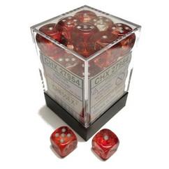 Chessex Dice: Nebula - D6 12mm Red/Silver Luminary (36)