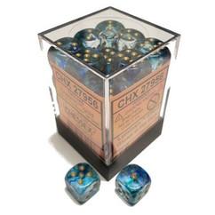 Chessex Dice: Nebula - D6 12mm Oceanic/Gold Luminary (36)