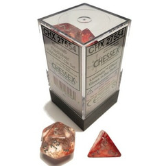 Chessex Dice: Nebula - Polyhedral Red/Silver Luminary (7)