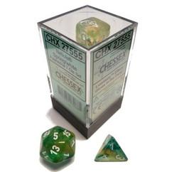 Chessex Dice: Nebula - Polyhedral Spring/White Luminary (7)