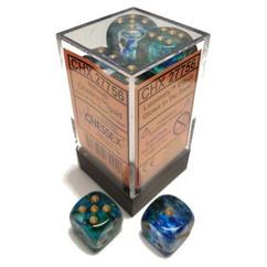 Chessex Dice: Nebula - D6 16mm Oceanic/Gold Luminary (12)