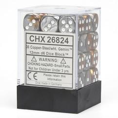 Chessex Dice: Gemini - 12mm D6 Copper Steel/White (36)