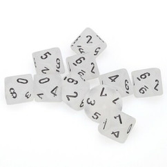 Chessex Dice: Frosted D10 Clear w/Black (10)