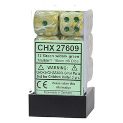 Chessex Dice: 16mm D6 Marble Green/Dark Green (12)