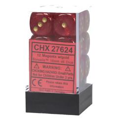 Chessex Dice: Borealis 2 - 16mm D6 Magenta/Gold (12)