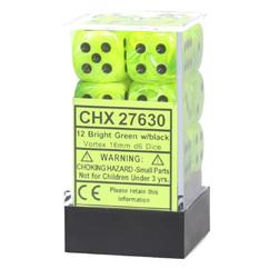 Chessex Dice: Vortex - 16mm D6 Bright Green/Black (12)