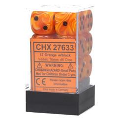 Chessex Dice: Vortex - 16mm D6 Orange/Black (12)