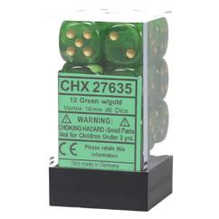Chessex Dice: Vortex - 16mm D6 Green/Gold (12)