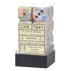 Chessex Dice: Festive - 16mm D6 Vibrant/Brown (12)