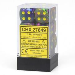 Chessex Dice: Festive - 16mm D6 Rio/Yellow (12)