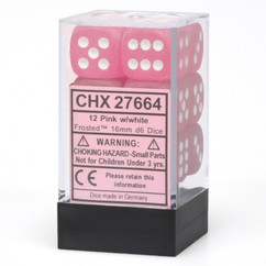 Chessex Dice: Frosted - 16mm D6 Pink/White (12)