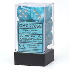 Chessex Dice: Cirrus - 16mm D6 Aqua/Silver (12)