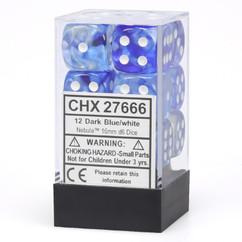 Chessex Dice: Nebula - 16mm D6 Dark Blue/White (12)