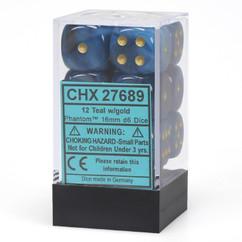 Chessex Dice: Phantom - 16mm D6 Teal/Gold (12)