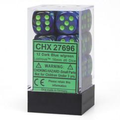 Chessex Dice: Lustrous - 16mm D6 Dark Blue/Green (12)
