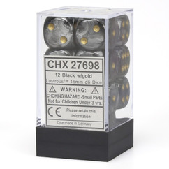 Chessex Dice: Lustrous - 16mm D6 Black/Gold (12)