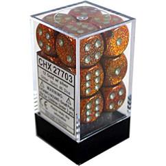 Chessex Dice: Glitter - 16mm D6 Gold/Silver (12)