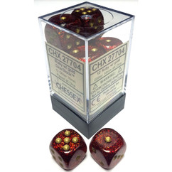 Chessex Dice: Glitter - 16mm D6 Ruby/Gold (12)