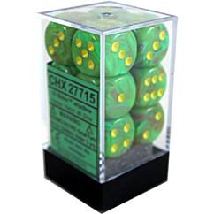 Chessex Dice: Vortex - 16mm D6 Slime Yellow (12)