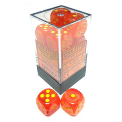 Chessex Dice: Menagerie 9 - Ghostly Glow 16mm D6 Orange/Yellow (12)