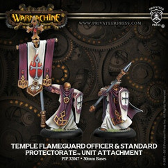 Warmachine: The Protectorate of Menoth - Temple Flameguard Officer and Standard - Unit Attachment