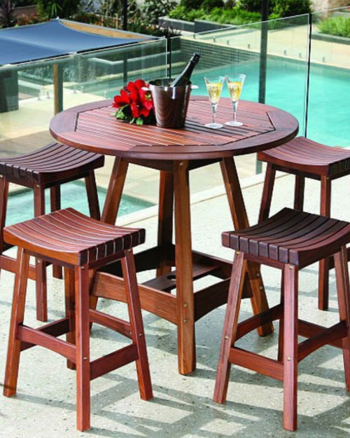 wood outdoor dining set bench 5piece round outdoor ipe wood dining set by jensen leisure includes 1 roble furniture