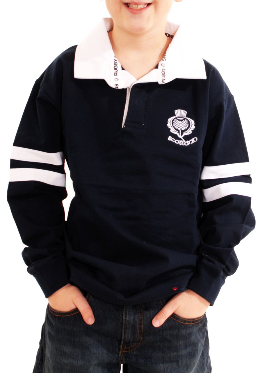 691398dd3 Kids Scotland Cotton Rugby Shirt Navy 2 Stripe Long Sleeve Thistle Logo  Size 9-10