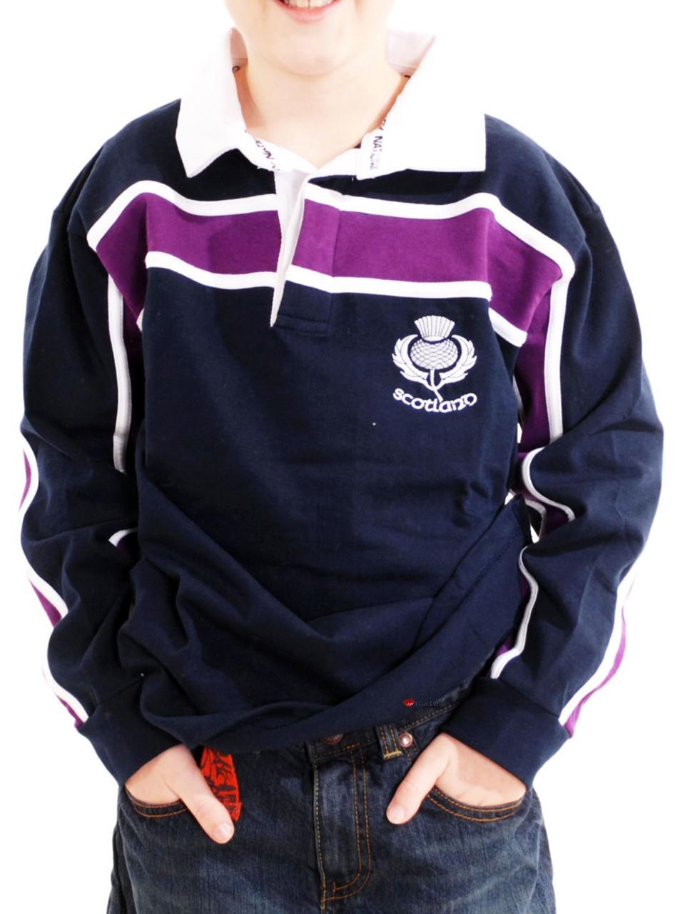 4fc48724bb4 Kids Scotland Thistle Logo Rugby Shirt Purple Stripe Navy Size 11-12 years  ...