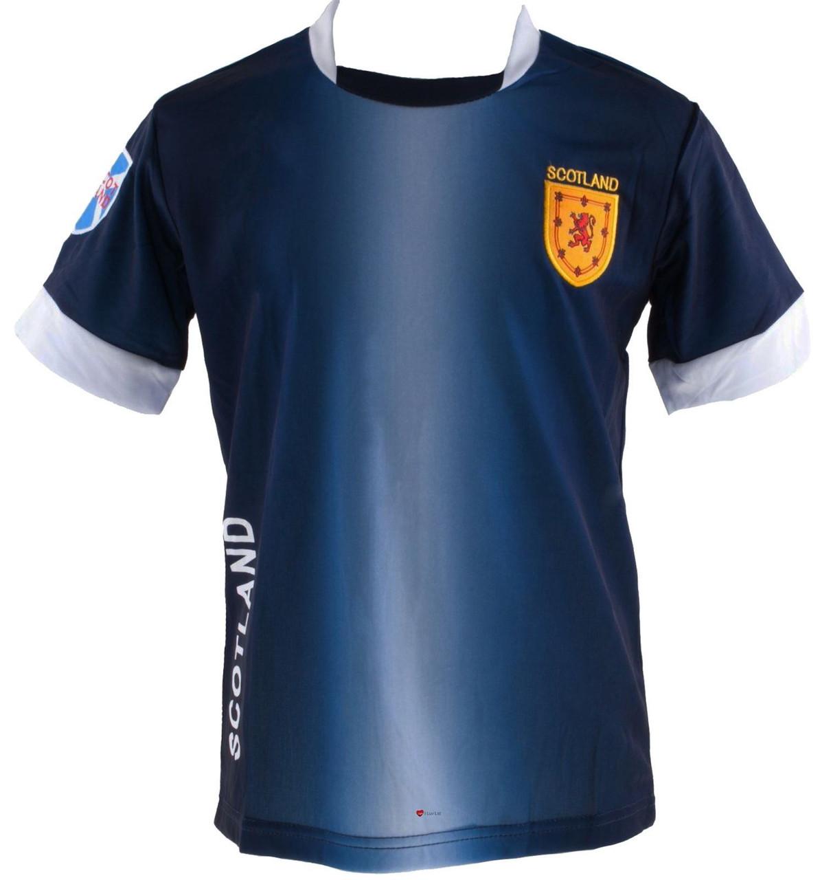 0e04ad4db Kids Scotland Scottish Football T-Shirt Top Navy White Lion Rampant Badge  4-5 ...