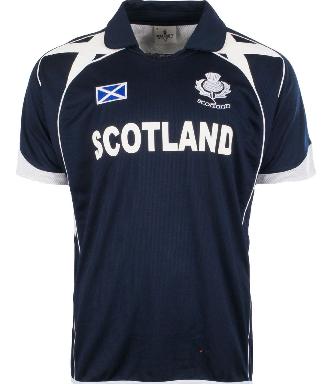 Gents Rugby Nations Rugby Shirt With Thistle Design In Navy Size 2X-Large
