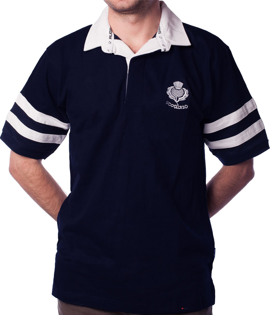 e9f698128d9 Mens Rugby Shirt Scotland 2 Stripe Short Sleeve Navy - ILuvSports.co.uk