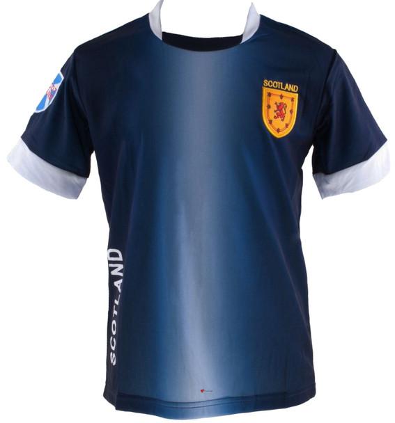 Kids Scotland Scottish Football T-Shirt Top Navy White Lion Rampant Badge 5-6-years