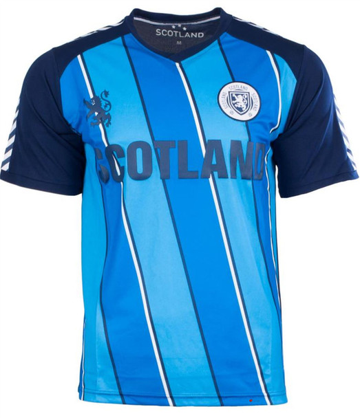 Men'S Striped Scotland Football Top Navy-Sky Blue