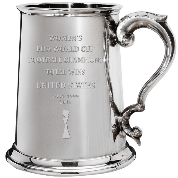 United States Fifa Women's World Cup Champions Total Wins 1pt Tankard Pewter